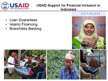 USAID Support for Financial Inclusion in Indonesia Loan Guarantees Islamic Financing Branchless Banking.