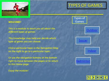TYPES OF GAMES WELCOME! This is a module to teach you all about the different types of games. This knowledge may help you decide which type of game you.