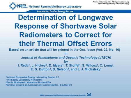 Determination of Longwave Response of Shortwave Solar Radiometers to Correct for their Thermal Offset Errors 1 National Renewable Energy Laboratory Golden.