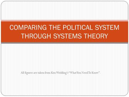 COMPARING THE POLITICAL SYSTEM THROUGH SYSTEMS THEORY