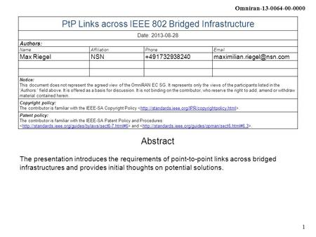 Omniran-13-0064-00-0000 1 PtP Links across IEEE 802 Bridged Infrastructure Date: 2013-08-28 Authors: NameAffiliationPhone Max