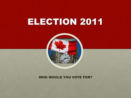 ELECTION 2011 WHO WOULD YOU VOTE FOR?. On May 2 nd, Canadians head to the polls … again.