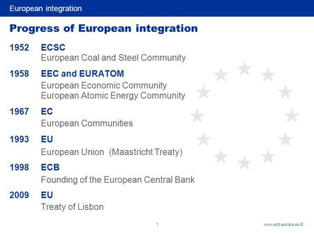 European integration 1www.ecb.europa.eu © Progress of European integration 1952ECSC European Coal and Steel Community 1958 EEC and EURATOM European Economic.