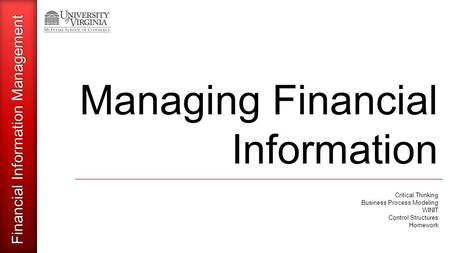 Financial Information Management Managing Financial Information Critical Thinking Business Process Modeling WINIT Control Structures Homework.