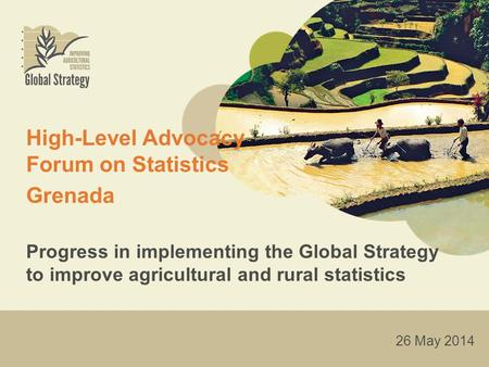 High-Level Advocacy Forum on Statistics Grenada Progress in implementing the Global Strategy to improve agricultural and rural statistics 26 May 2014.