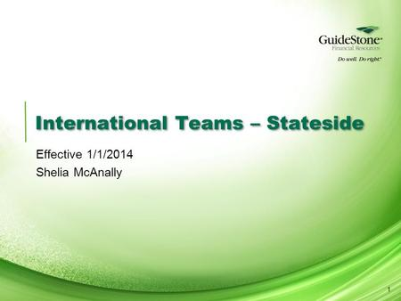 International Teams – Stateside Effective 1/1/2014 Shelia McAnally 1.