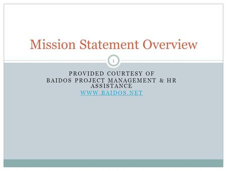 Mission Statement Overview