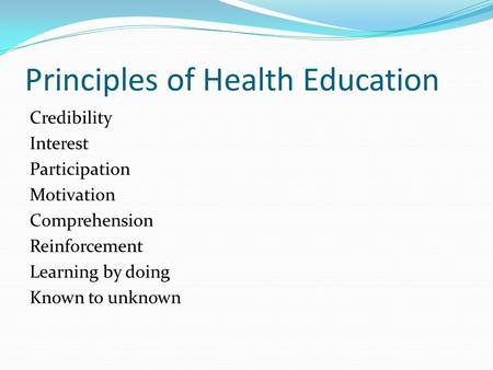 Principles of Health Education