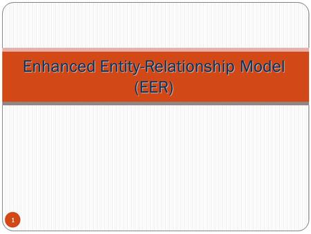 Enhanced Entity-Relationship Model (EER) 1. Enhanced-ER (EER) Model Concepts Includes all modeling concepts of basic ER Additional concepts: subclasses/superclasses,