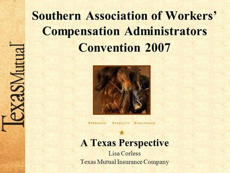 Southern Association of Workers' Compensation Administrators Convention 2007 A Texas Perspective Lisa Corless Texas Mutual Insurance Company.