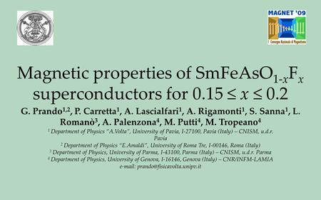 Magnetic properties of SmFeAsO 1-x F x superconductors for 0.15 ≤ x ≤ 0.2 G. Prando 1,2, P. Carretta 1, A. Lascialfari 1, A. Rigamonti 1, S. Sanna 1, L.
