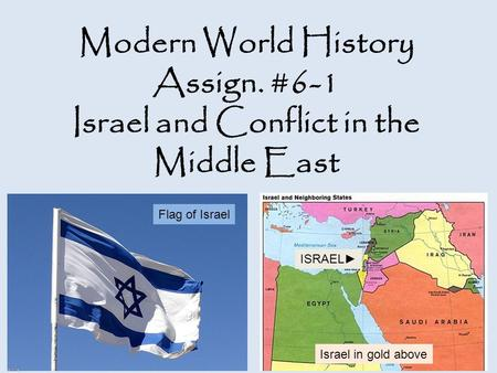 Modern World History Assign. #6-1 Israel and Conflict in the Middle East Flag of Israel Israel in gold above ISRAEL►
