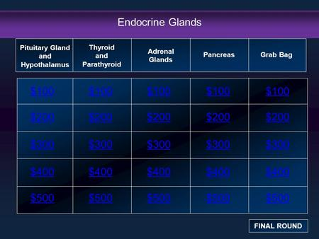 Endocrine Glands $100 $200 $300 $400 $500 $100$100$100 $200 $300 $400 $500 Pituitary Gland and Hypothalamus FINAL ROUND Thyroid and Parathyroid Adrenal.