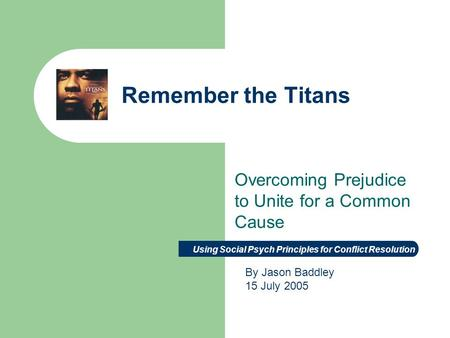 remember the titans essays on racism Remember the titans directed by boaz yakin, remember the titans explores racism in the community of alexandria and the struggles of dealing with an integrated society.
