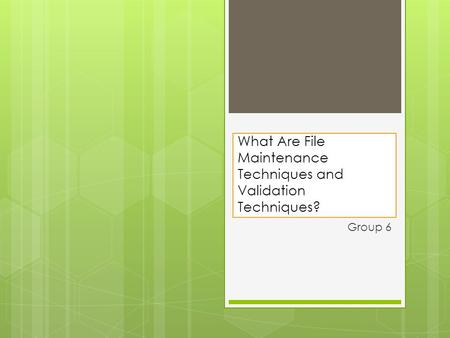 What Are File Maintenance Techniques and Validation Techniques?