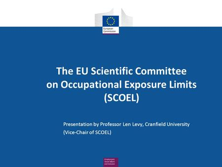 The EU Scientific Committee on Occupational Exposure Limits (SCOEL) Presentation by Professor Len Levy, Cranfield University (Vice-Chair of SCOEL)