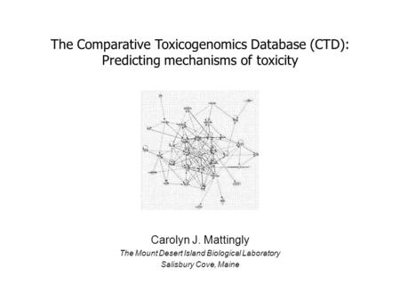 Carolyn J. Mattingly The Mount Desert Island Biological Laboratory Salisbury Cove, Maine The Comparative Toxicogenomics Database (CTD): Predicting mechanisms.