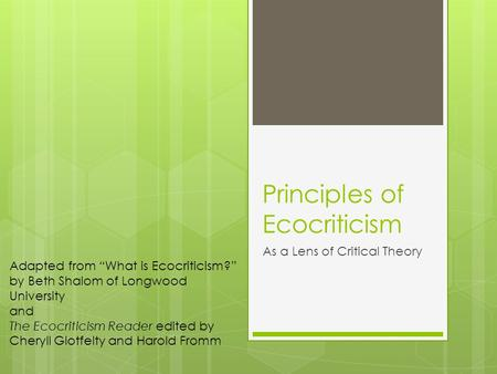 Principles of Ecocriticism