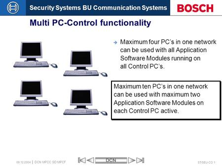 Security Systems BU Communication SystemsDCN ST/SEU-CO 1 DCN MPCC SD MPCF 09.12.2004 Multi PC-Control functionality  Maximum four PC's in one network.