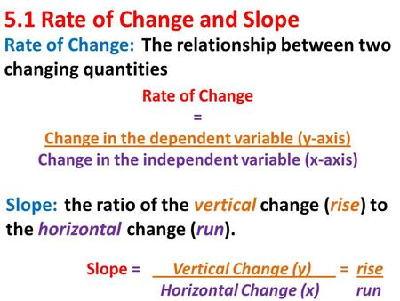 5.1 Rate of Change and Slope Rate of Change: The relationship between two changing quantities Slope: the ratio of the vertical change (rise) to the horizontal.