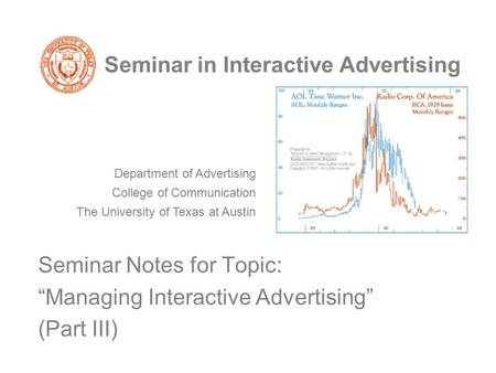 "Seminar in Interactive Advertising Seminar Notes for Topic: ""Managing Interactive Advertising"" (Part III) Department of Advertising College of Communication."