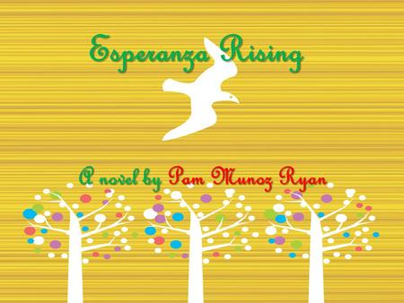 Esperanza Rising A novel by Pam Munoz Ryan. About the Author Esperanza Rising, is about Ryan's grandmother. She wrote the story to honor her family. She.