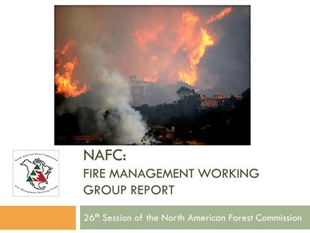 NAFC: FIRE MANAGEMENT WORKING GROUP REPORT 26 th Session of the North American Forest Commission.