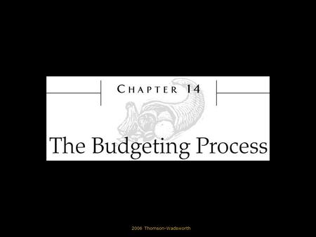 © 2006 Thomson-Wadsworth. Learning Objectives State why organizations develop budgets. Differentiate between the master budget, the operating budget,