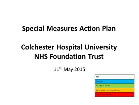 Special Measures Action Plan Colchester Hospital University NHS Foundation Trust 11 th May 2015 KEY Delivered On Track to deliver Some issues – narrative.