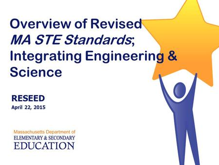Overview of Revised MA STE Standards; Integrating Engineering & Science RESEED April 22, 2015.