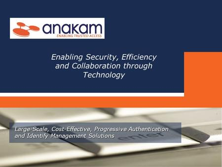 Large-Scale, Cost-Effective, Progressive Authentication and Identify Management Solutions Enabling Security, Efficiency and Collaboration through Technology.