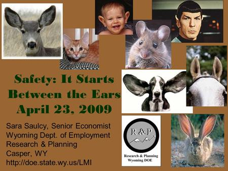 1 Safety: It Starts Between the Ears April 23, 2009 Sara Saulcy, Senior Economist Wyoming Dept. of Employment Research & Planning Casper, WY