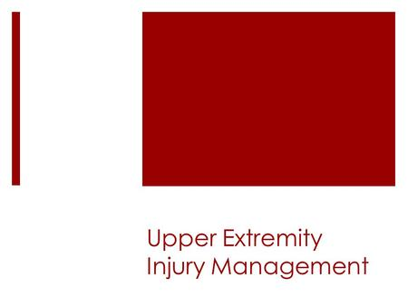 Upper Extremity Injury Management. Acromioclavicular & Sternoclavicular sprains  Signs & Symptoms  First degree:  Slight swelling, mild pain to palpation.