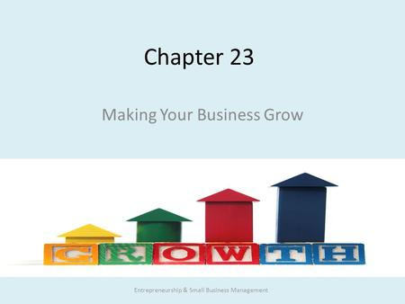 Chapter 23 Making Your Business Grow Entrepreneurship & Small Business Management.