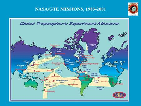 NASA/GTE MISSIONS, 1983-2001. TRAnsport and Chemical Evolution over the Pacific (TRACE-P) A two-aircraft GTE mission over the western Pacific in February-April.