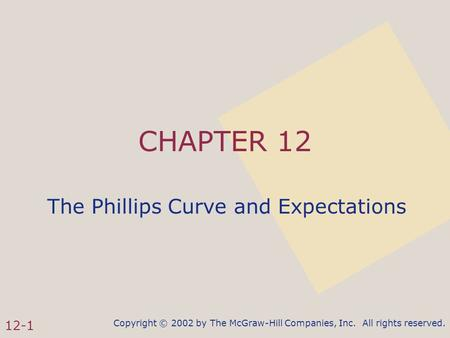 Copyright © 2002 by The McGraw-Hill Companies, Inc. All rights reserved. 12-1 CHAPTER 12 The Phillips Curve and Expectations.
