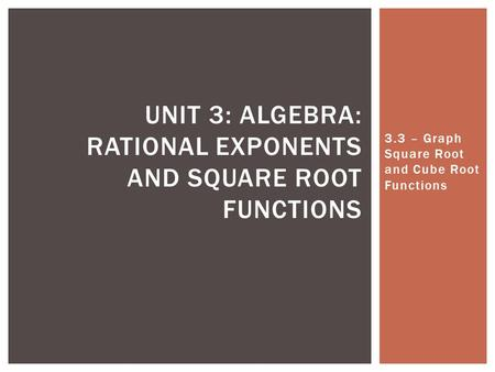 Unit 3: Algebra: Rational Exponents and Square Root Functions