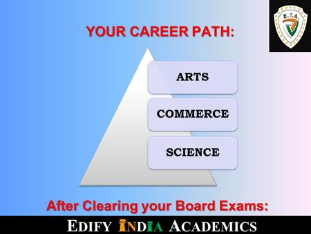 After Clearing your Board Exams: After Clearing your Board Exams: ARTSCOMMERCESCIENCE YOUR CAREER PATH: YOUR CAREER PATH: E DIFY i ND i A A CADEMICS.