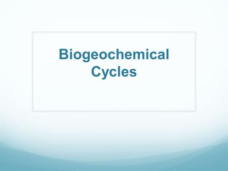 Biogeochemical Cycles. How Can Abiotic Impacts Affect the Environment Let's first understand what natural processes occur on earth.