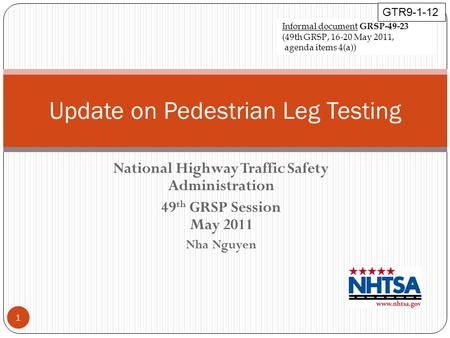 National Highway Traffic Safety Administration 49 th GRSP Session May 2011 Nha Nguyen Update on Pedestrian Leg Testing 1 Informal document GRSP-49-23 (49th.
