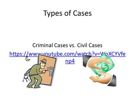 Types of Cases Criminal Cases vs. Civil Cases https://www.youtube.com/watch?v=WoXCYVfe np4.
