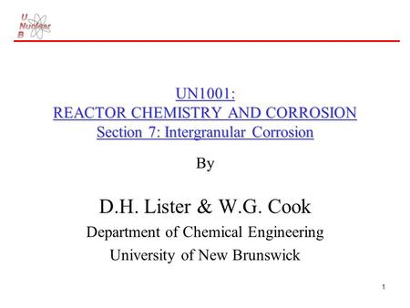By D.H. Lister & W.G. Cook Department of Chemical Engineering