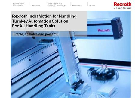 Electric Drives and ControlsHydraulics Linear Motion and Assembly TechnologiesPneumaticsService 1 Simple, scalable and powerful Rexroth IndraMotion for.