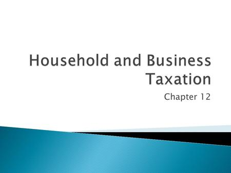 Chapter 12. Be able to:  Outline the difference between managing a household and managing a business in relation to taxation.  Explain the implications.
