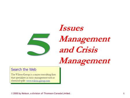 © 2005 by Nelson, a division of Thomson Canada Limited. 1 Issues Management and Crisis Management Search the Web The Wilson Group is a major consulting.