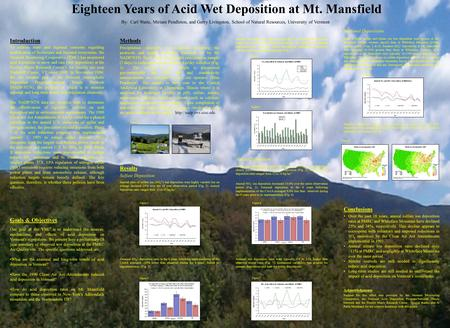 Eighteen Years of Acid Wet Deposition at Mt. Mansfield Goals & Objectives One goal of the VMC is to understand the sources, mechanisms, and effects of.