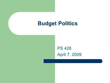 Budget Politics PS 426 April 7, 2009. Budget categories, 2008.