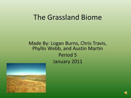 The Grassland Biome Made By: Logan Burns, Chris Travis, Phyllis Webb, and Austin Martin Period 5 January 2011.