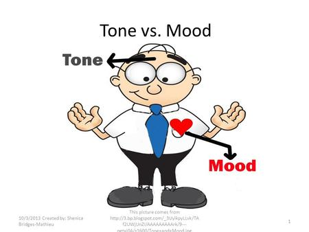Tone vs. Mood 10/3/2013 Created by: Shenica Bridges-Mathieu This picture comes from  f2UWjUnZI/AAAAAAAAArk/9---