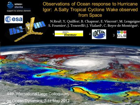 Observations of Ocean response to Hurricane Igor: A Salty Tropical Cyclone Wake observed from Space N.Reul 1, Y, Quilfen 1, B. Chapron 1, E. Vincent 2,